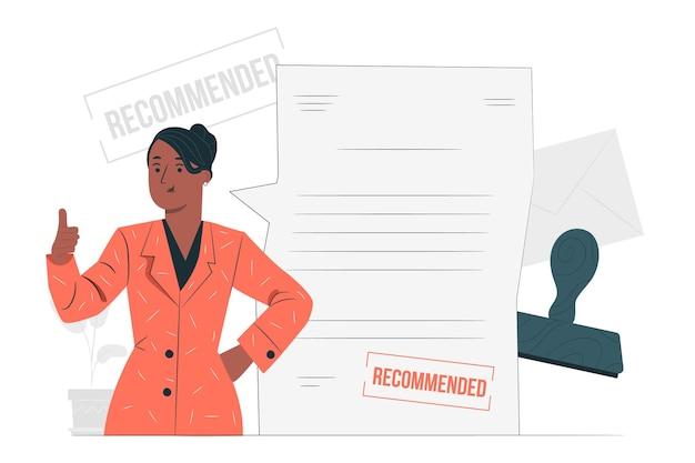 Ilustração do conceito de carta de recomendação