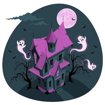 Ilustração do conceito de casa assombrada