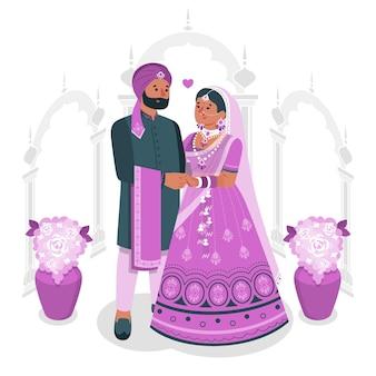 Ilustração do conceito de casamento indiano