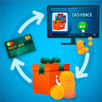 Ilustração do conceito de cashback