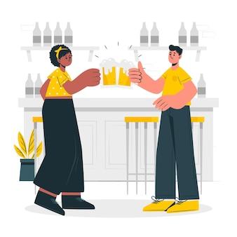 Ilustração do conceito de celebração de cerveja