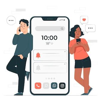 Ilustração do conceito de celular