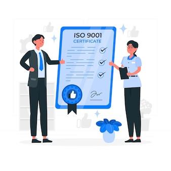 Ilustração do conceito de certificação iso