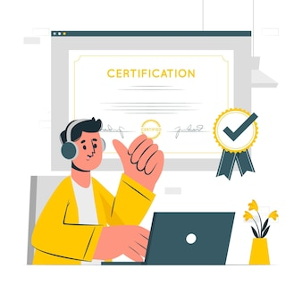 Ilustração do conceito de certificação