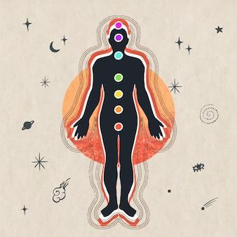 Ilustração do conceito de chakras com corpo