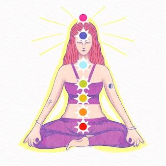 Ilustração do conceito de chakras com mulher