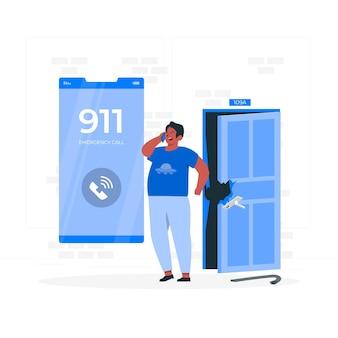 Ilustração do conceito de chamada de emergência
