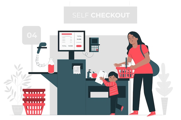 Ilustração do conceito de check-out automático