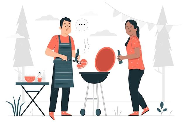 Ilustração do conceito de churrasco
