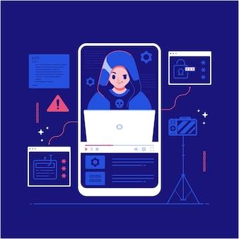 Ilustração do conceito de cibercrime de personagem hacker