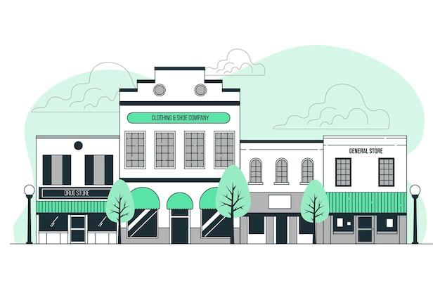 Ilustração do conceito de cidade pequena