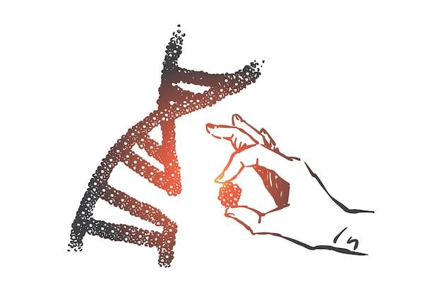 Ilustração do conceito de ciência de engenharia genética