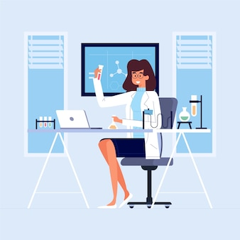 Ilustração do conceito de cientista feminina