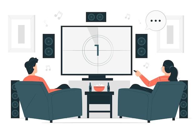 Ilustração do conceito de cinema em casa