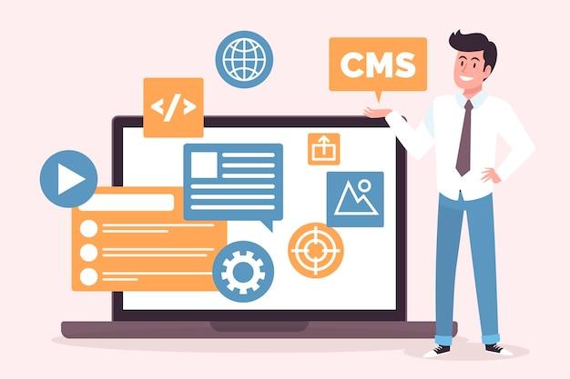 Ilustração do conceito de cms de design plano