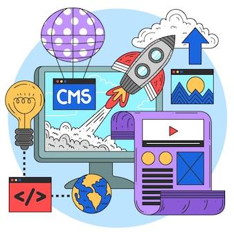 Ilustração do conceito de cms plana