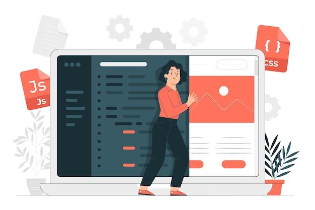Ilustração do conceito de código-fonte