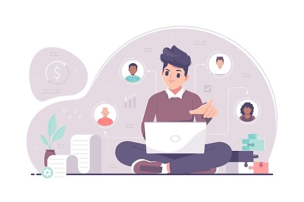 Ilustração do conceito de colaboração em trabalho em equipe empresarial
