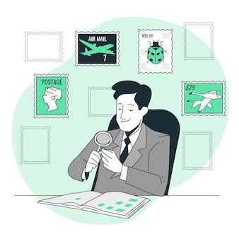 Ilustração do conceito de coleção de selos