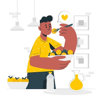 Ilustração do conceito de comer comida saudável