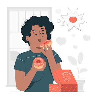 Ilustração do conceito de comer donuts