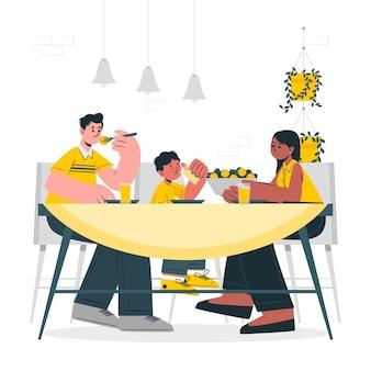 Ilustração do conceito de comer juntos
