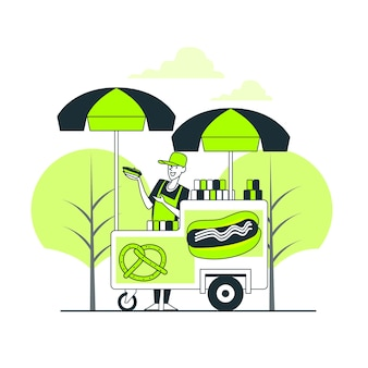 Ilustração do conceito de comida de rua