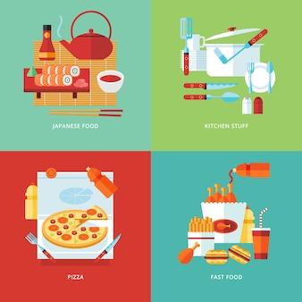 Ilustração do conceito de comida e cozinha. cozinha japonesa sushi, utensílios de mesa, pizza. comida rápida. cozinhando a refeição. s.