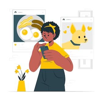 Ilustração do conceito de compartilhamento social