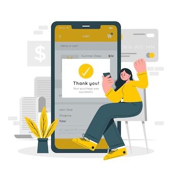 Ilustração do conceito de compra bem sucedida