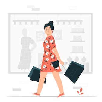 Ilustração do conceito de compras (não on-line)