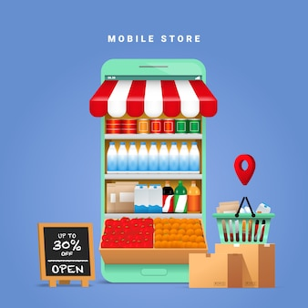 Ilustração do conceito de compras on-line. exibindo produtos de alimentos e bebidas nas prateleiras das lojas em uma tela móvel.