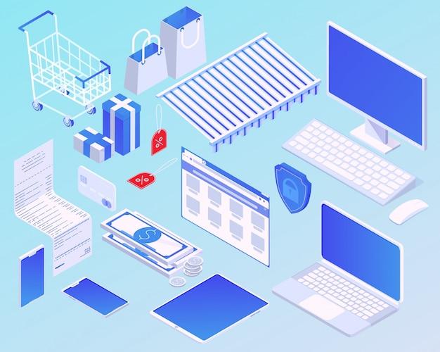 Ilustração do conceito de compras on-line isométrica dos desenhos animados