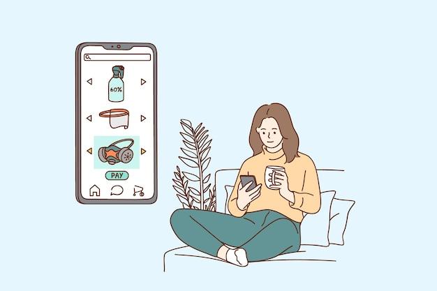 Ilustração do conceito de compras online e comércio eletrônico