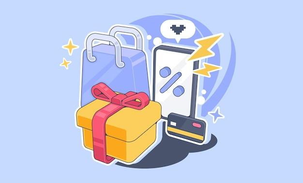 Ilustração do conceito de compras online. ilustração de atributos de compras para publicidade