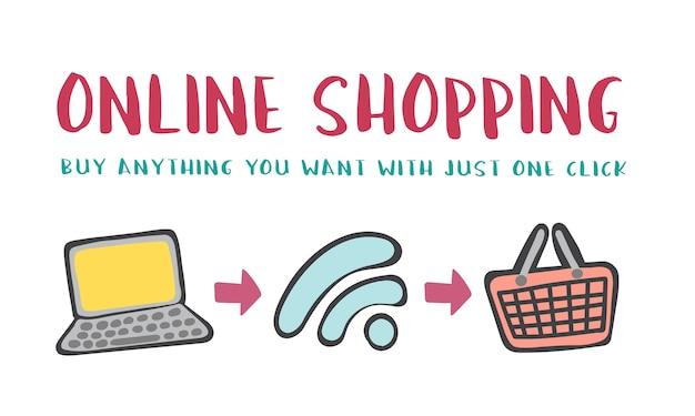 Ilustração do conceito de compras online