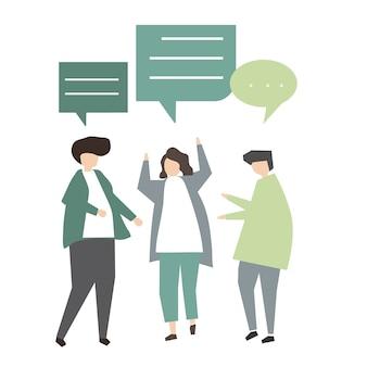 Ilustração do conceito de comunicação de avatar