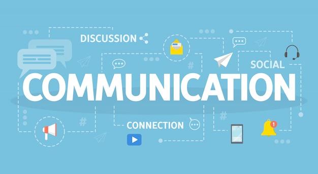Ilustração do conceito de comunicação. ideia de conversar e surfar.