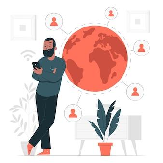 Ilustração do conceito de conexão online
