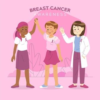 Ilustração do conceito de conscientização do câncer de mama