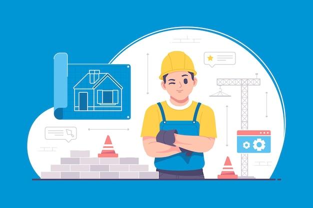 Ilustração do conceito de construção e engenheiro civil