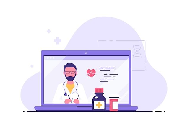 Ilustração do conceito de consulta médica online