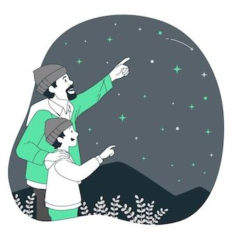 Ilustração do conceito de contagem de estrelas