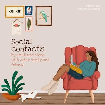 Ilustração do conceito de contatos sociais
