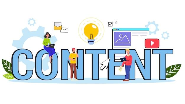 Ilustração do conceito de conteúdo. feedback, comunicação e popularidade.