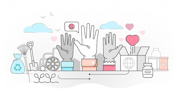 Ilustração do conceito de contorno de voluntariado. ajude a caridade e compartilhe a esperança.