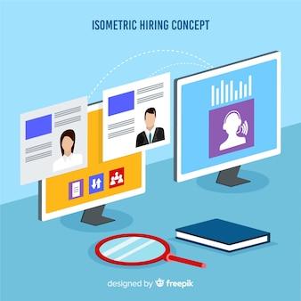 Ilustração do conceito de contratação isométrica