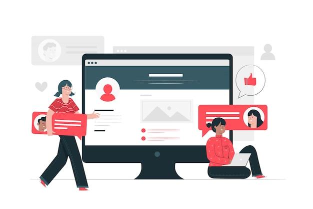 Ilustração do conceito de conversa on-line