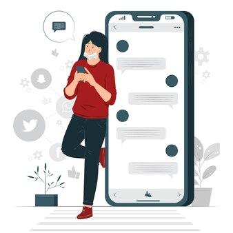 Ilustração do conceito de conversa por chat online
