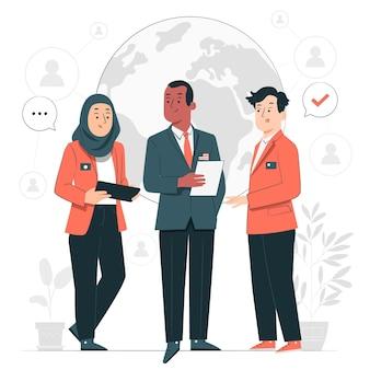 Ilustração do conceito de cooperação internacional